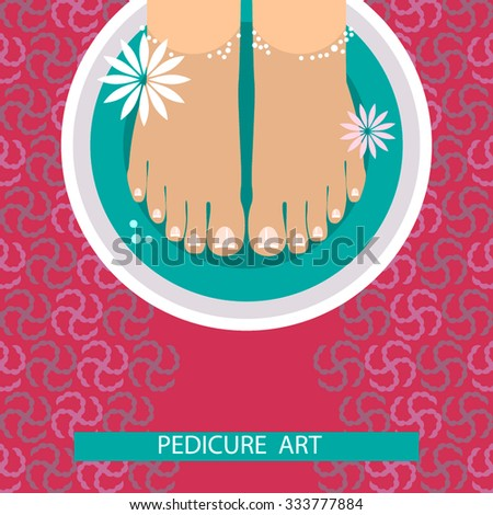 Pedicure banner with female feet and nails. colored vector illustration for your business - stock vector