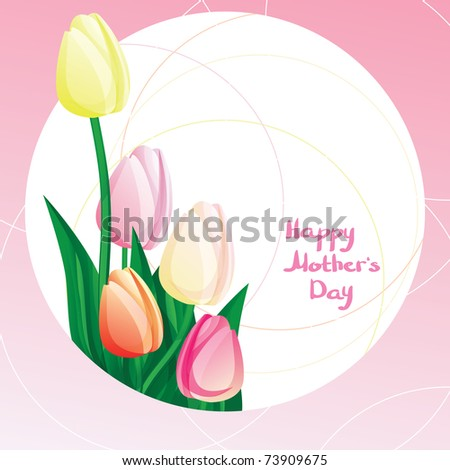 Peekaboo Mother's Day card with tulip and calligraphy. - stock vector