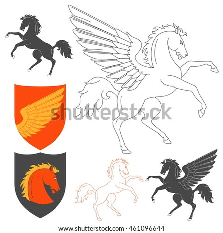 Pegasus And Horse Illustration For Heraldry Or Tattoo Design Isolated On White Background. Heraldic Symbols And Elements