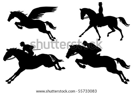 pegasus and horses silhouette collection on the white background vector eps10 - stock vector