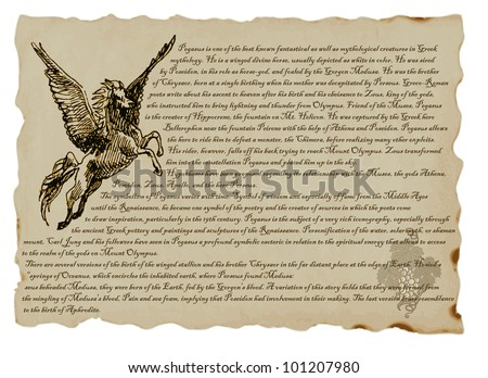 PEGASUS. Clever pictures by Greek, Roman and Egyptian myths. Hand drawing. (Text in English language.) - stock vector