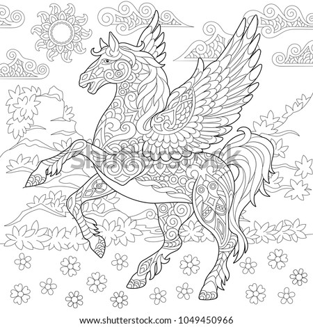 Pegasus Coloring Page Greek Mythological Winged Horse Flying Adult Book Idea Antistress