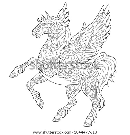 flying pony coloring pages | Pegasus Racing Stock Images, Royalty-Free Images & Vectors ...