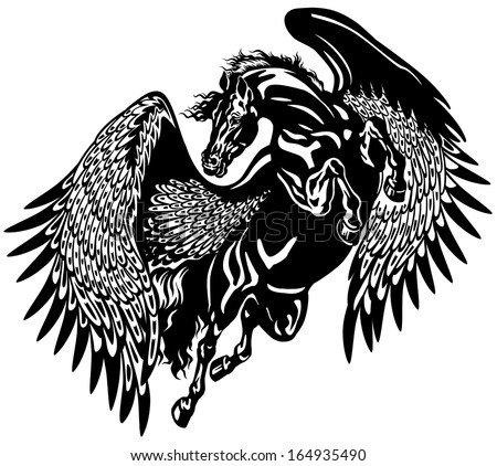 Pegasus horse black and white tattoo illustration - stock vector