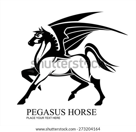 Pegasus Horse in black and white.Pegasus horse isolated on white background for heraldry logo design. - stock vector
