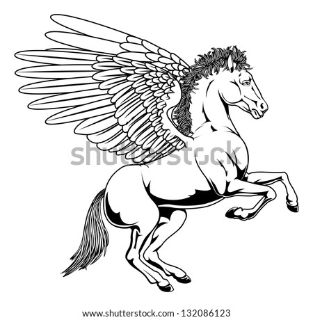Pegasus horse with wings rearing on its back legs in black and white outline