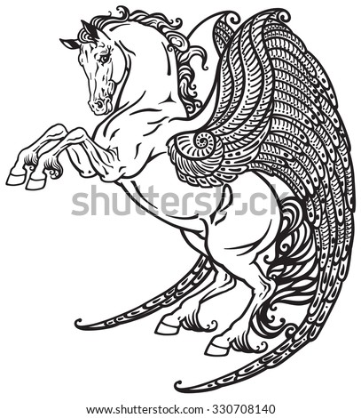 Pegasus mythical winged horse . Black and white tattoo image