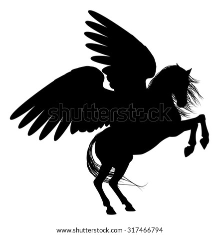 Pegasus mythical winged horse Silhouette