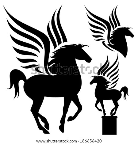 pegasus silhouette set - black winged horses on white - stock vector