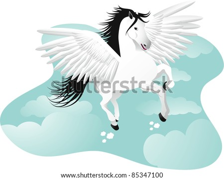 Pegasus The winged horse. EPS 8 vector with no open shapes or strokes.