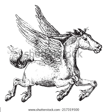 Pegasus, vintage engraved illustration. Dictionary of words and things - Larive and Fleury - 1895. - stock vector