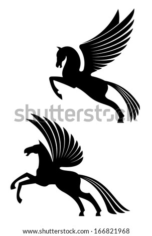 Pegasus winged horses isolated on white background for heraldry design - stock vector