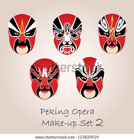 Peking opera red make-up set - stock vector