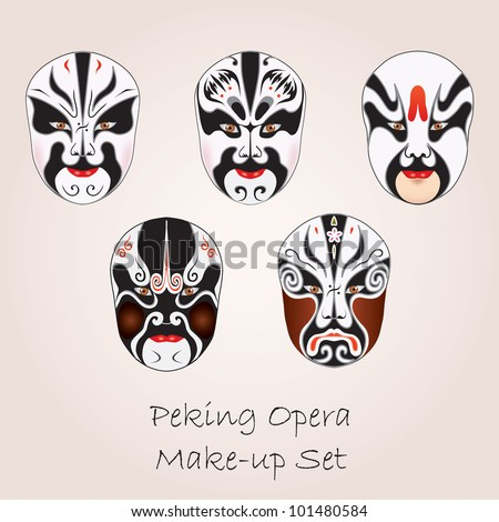 Peking opera white make-up set - stock vector