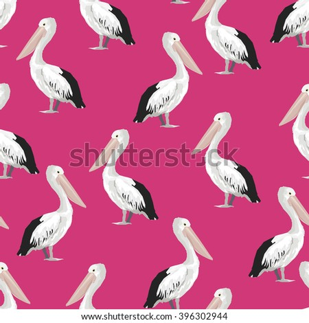pelican pattern vector. Pelican vector illustration textile design - stock vector