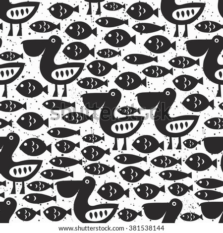 Pelican seamless pattern. Black surface decoration with pelican and fish.Vector illustration. Cloth design, wallpaper, wrapping. - stock vector