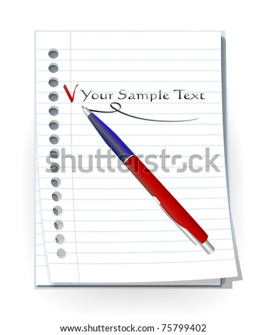 pen and lined paper - stock vector