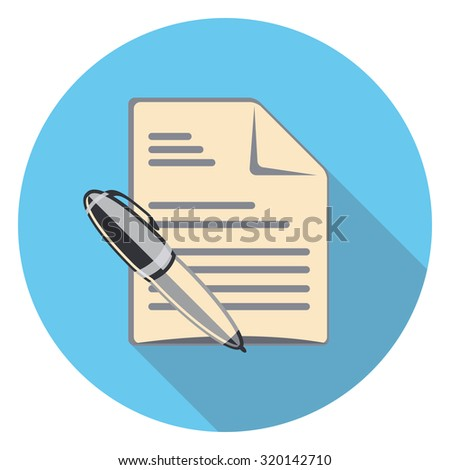 pen and paper flat icon in circle - stock vector