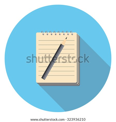 pen and paper flat icon in circle