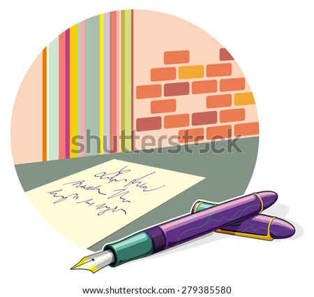 Pen and paper sheet - stock vector