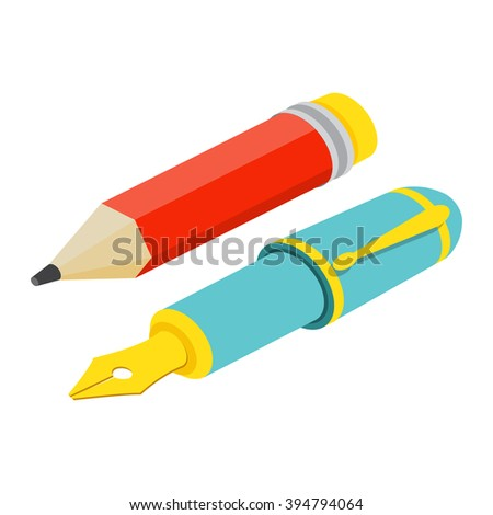 Pen and pencil Icon Image. Pen and pencil Icon Graphic. Pen and pencil Icon Art. Pen and pencil Icon JPG. Pen and pencil Icon JPEG. Pen and pencil  Icon EPS - stock vector.  Isometric  flat. - stock vector