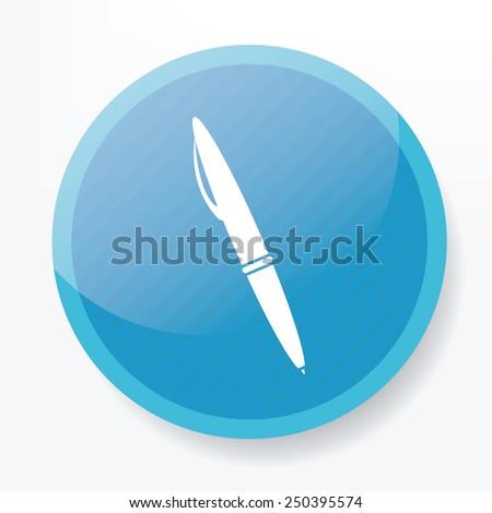 Pen design on blue flat button,clean vector - stock vector