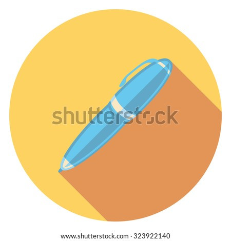 pen flat icon in circle - stock vector