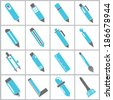 pen icons,  painting tools icons set, blue color theme - stock vector