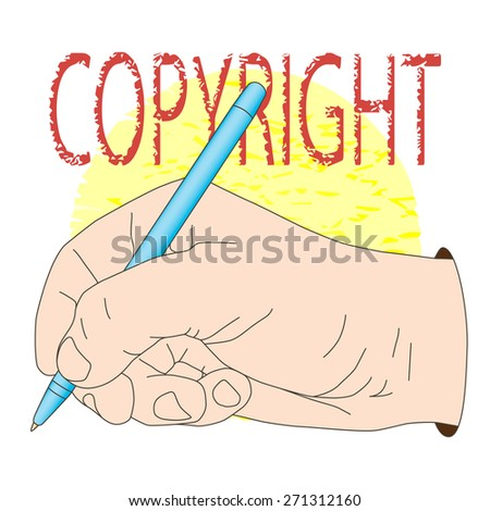 Pen in hand. Vector illustration, icon, element for design or a fashion print. - stock vector