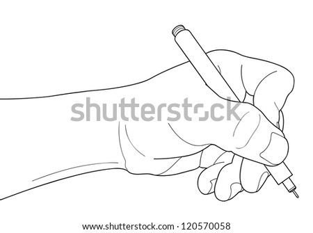 pen in the hand isolated over white background