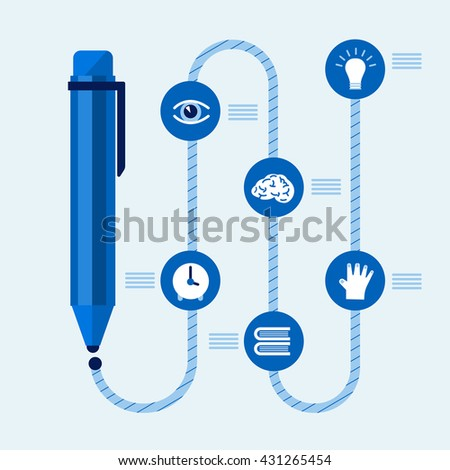 Pen infographics concept write by idea , hand , read , think , visual and time.