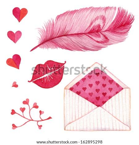 Pen, kiss, heart, envelope. Cute romantic set of design elements for Valentine's Day.  - stock vector
