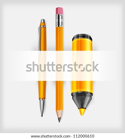 Pen, pencil and marker isolated on white background, vector illustration