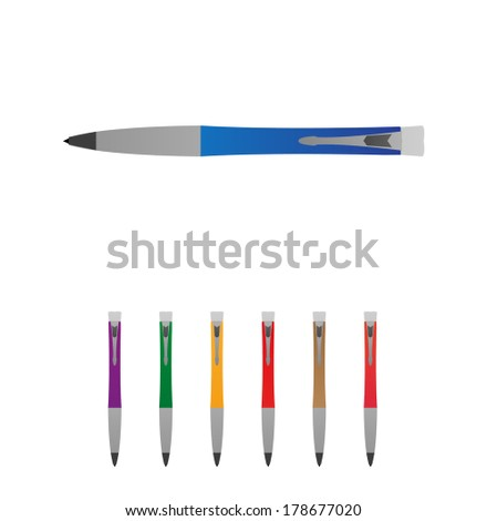 Pen set - stock vector