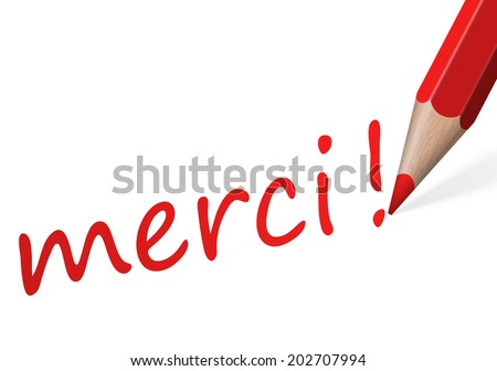 "Pen with text "" merci! "" - stock vector"