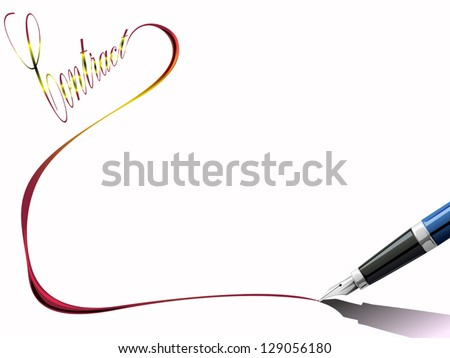 pen writing line from contract text - stock vector