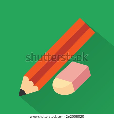 Pencil and eraser,modern design flat icon with long shadow - stock vector