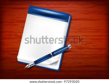 Pencil and notebook on the wooden table - stock vector