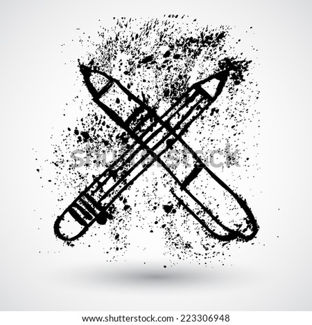 Pencil and pen grunge icon - stock vector