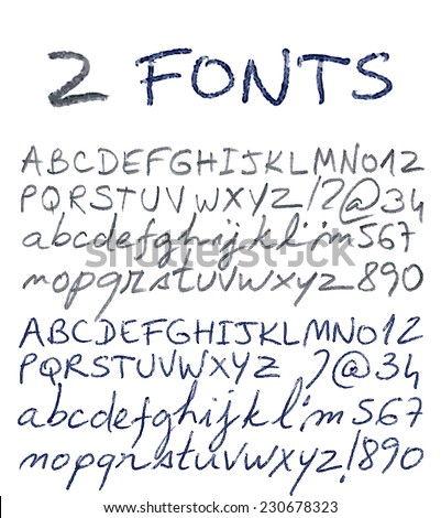 Pencil And Pen Texture Handwriting Font Vector Illustration
