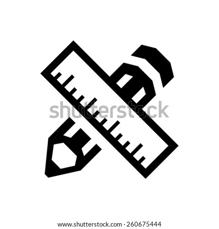 Pencil and ruler icon - stock vector