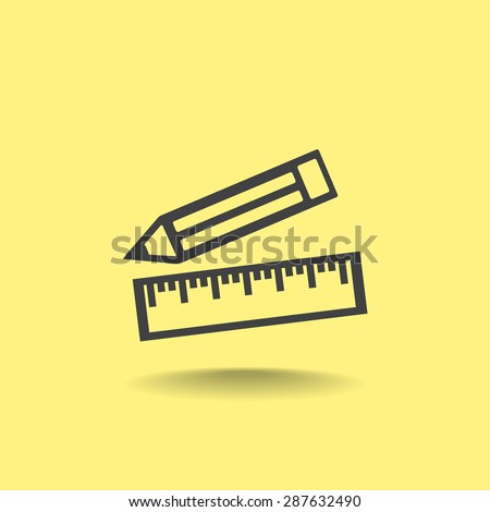 Pencil and ruler vector icon - stock vector