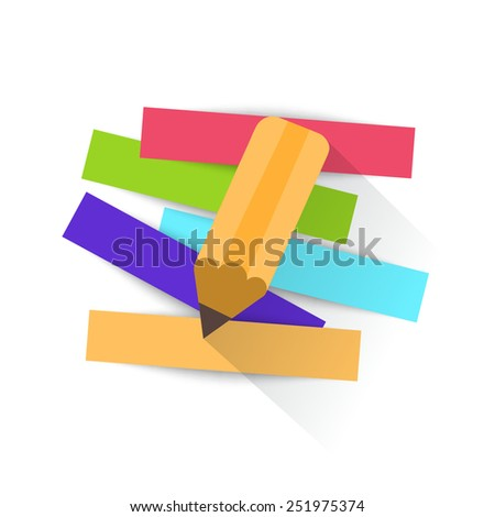 Pencil and strips of paper for message. Vector illustration.  - stock vector