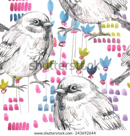 pencil and watercolor sketch seamless pattern with flower and bird sparrow - stock vector