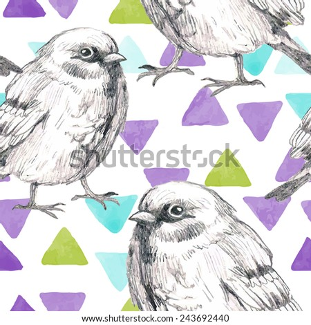 pencil and watercolor sketch seamless pattern with triangles and bird sparrow - stock vector
