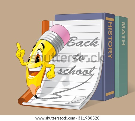 Pencil character is going back to school - stock vector