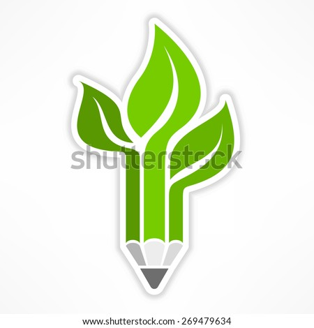 Pencil combined with tree on white, vector illustration - stock vector