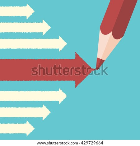 Pencil drawing big leading red arrow among many small white ones. Leadership, success, uniqueness and management concept. EPS 8 vector illustration, no transparency - stock vector