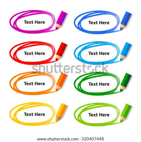 Pencil drawing ellipse doodle frames with sample text. Vector Set of Flat Design Color Elements on white background. - stock vector