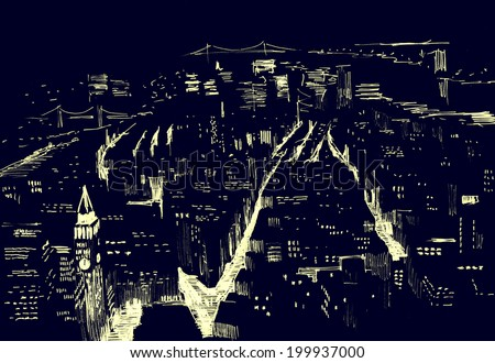 Pencil drawing of a landscape with set of skyscrapers in New York at night - in vector - stock vector